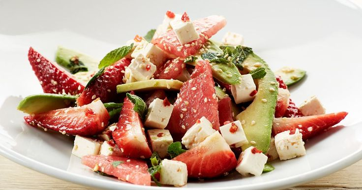 This juciy Summer salad with strawberry, watermelon and spicy white cheese, could be a perfect match for grilled meat, lunch or as part of a tapas menu.