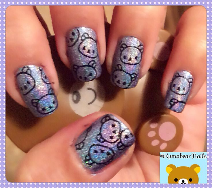 Rilakkuma nails.  Rilakkuma Nail Stamping.  Image is plate Fun 10 from FabUrNails and can be purchased from here: http://www.llarowe.com/products/FUN-Plate-%2540p10.html