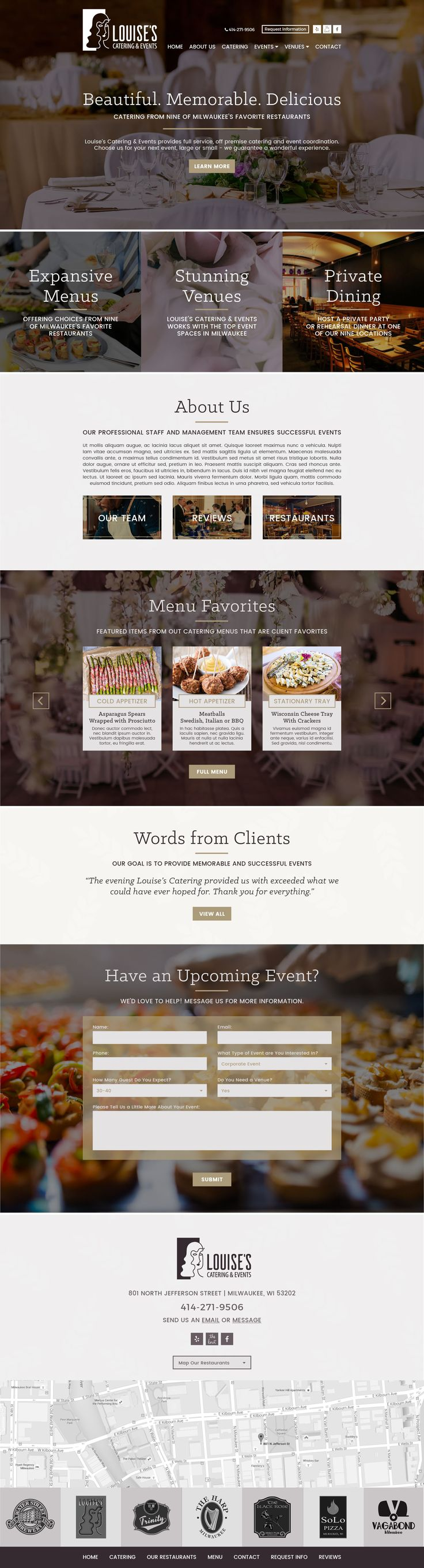 If you live in Milwaukee, you're probably already familiar with Louise's Catering & Events. Not only is Louise's well-known for providing top-notch catering and event coordination, they're also part of the same restaurant group that owns classic Milwaukee hotspots like Water Street Brewery and Trinity Three Irish Pubs. The Louise's team wanted some help creating …
