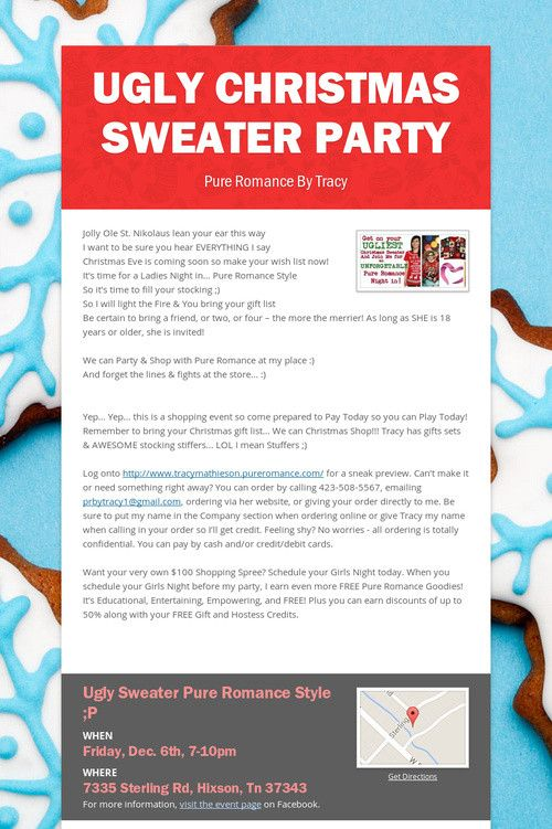 """Ugly sweater Party @ Southside tomorrow!!! Lots of giveaways & gifts sets & games are Naughty Santa & Bingo & Are you smarter than a vibrator... Text """"romancemedic"""" to 77948 to claim your seat today. Yes MEN are allowed to attend Ugly Christmas Sweater Party"""