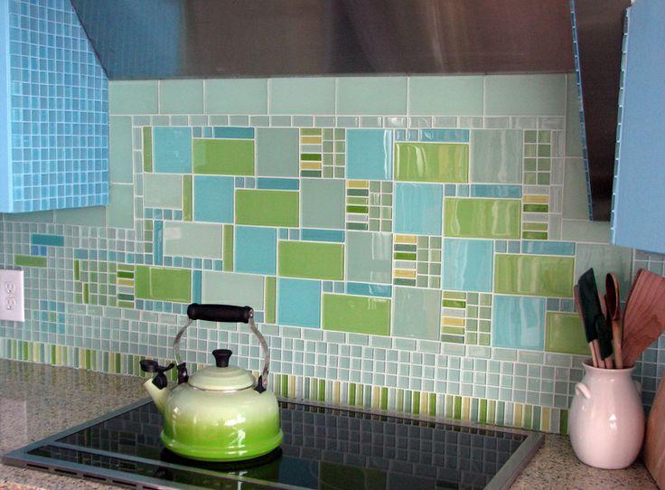 Mosaic tile art created with modwalls modern glass tiles and mosaic glass tile  modwalls