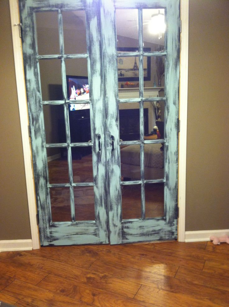 Distressed painted french doors vintage decor for Double doors for back door