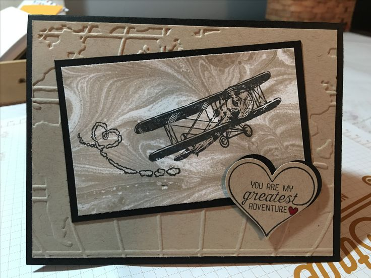 Stampin' Up Sale a Bration Sky is the Limit.  I used Crumb Cake and Basic Black card stock. Also used Going Places DSP, Going Places embossing folder, and Sweetheart punch. Quick and easy!