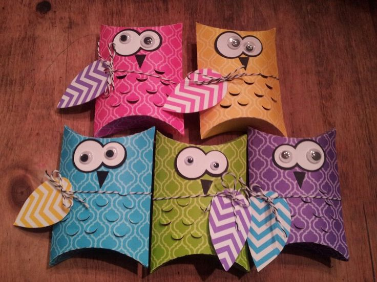 birthday treats for the classroom... owl pillow boxes filled with fun sized candy... silhouette cameo