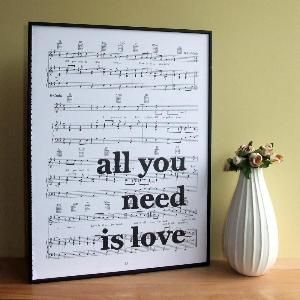 sheet music craft project ideas | Beatles Lyrics Typographic Art Print On Framed Sheet ... | Craft Ideas