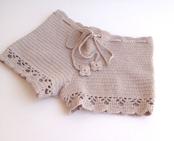beige short - Beach shorts - summer shorts - NATURAL cotton - crochet shorts - girls - teens - women clothing senoaccessory on Etsy, 34,90 $