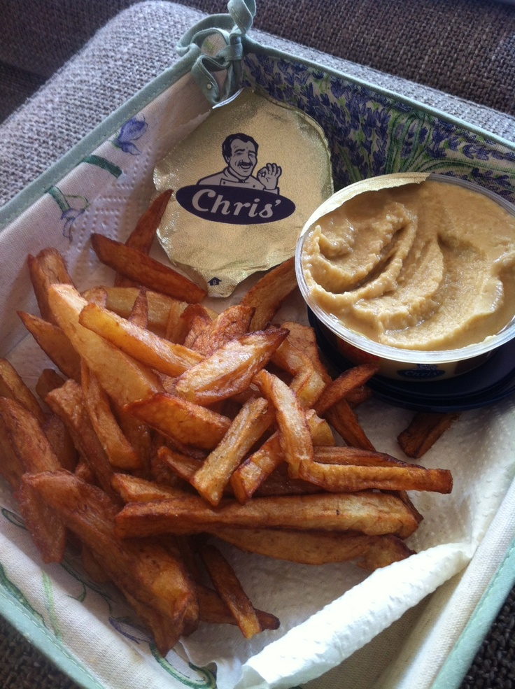 Chris' Hommus with yummy hot potato chips. For a twist, use sweet potato instead!