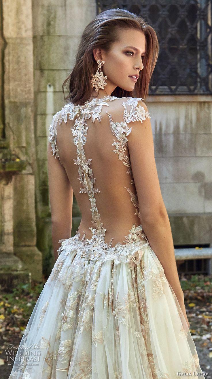 galia lahav fall 2017 bridal sleeveless deep plunging v neck full embellishment sexy princess ball gown a  line wedding dress overskirt illusion low back chapel train (lilyrose) zbv