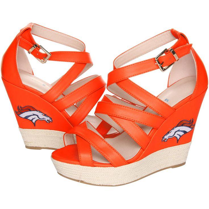 Women's Cuce Shoes Orange Denver Broncos Wedge Espadrille