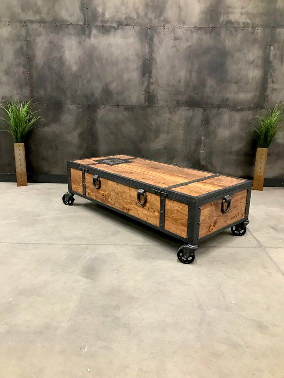 Locking Chest Rustic Coffee Table Storage Bench Etsy