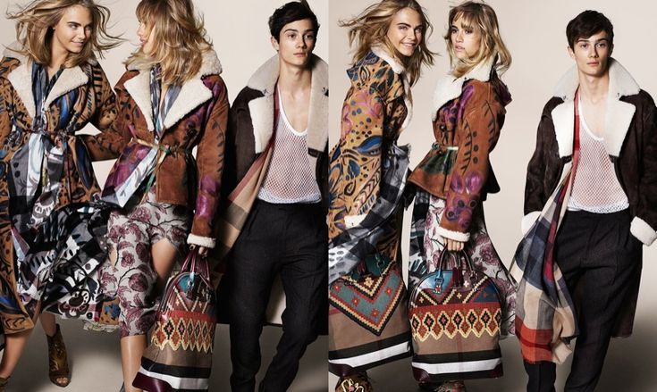 burberry fall winter 2014 campaign photos1 Cara Delevingne, Suki Waterhouse & Malaika Firth Land Burberry Fall 2014 Campaign