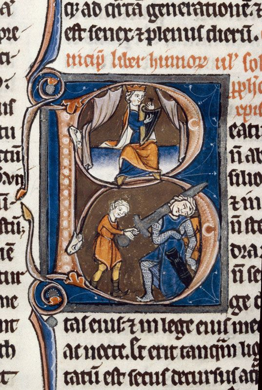Bibliothèque municipale de Dijon - ms. 0001, f. 248 Bible / David accordant sa harpe/David et Goliath « cliché CNRS - IRHT »