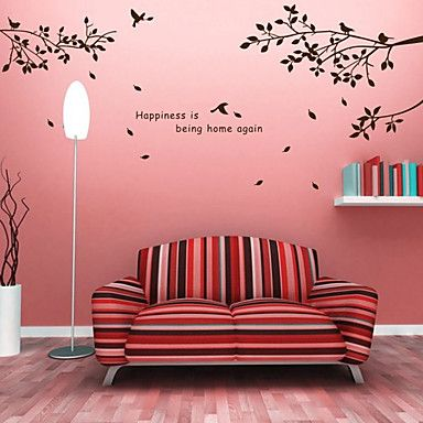 Trees Branches and Birds Wall Stickers – USD $ 29.99 I like this!  I can paint it.. have a family saying in the middle... and shelves for photos... Yes!