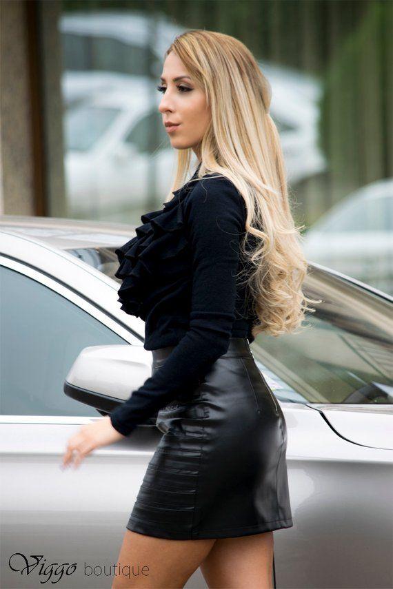 Leather skirt with buckles, Short Black Skirt, Party Skirt, Black leather Skirt