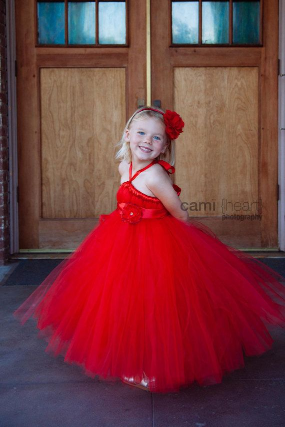 Red Tutu Flower Girl Dress, Red Flower from PiaMiaBoutique on