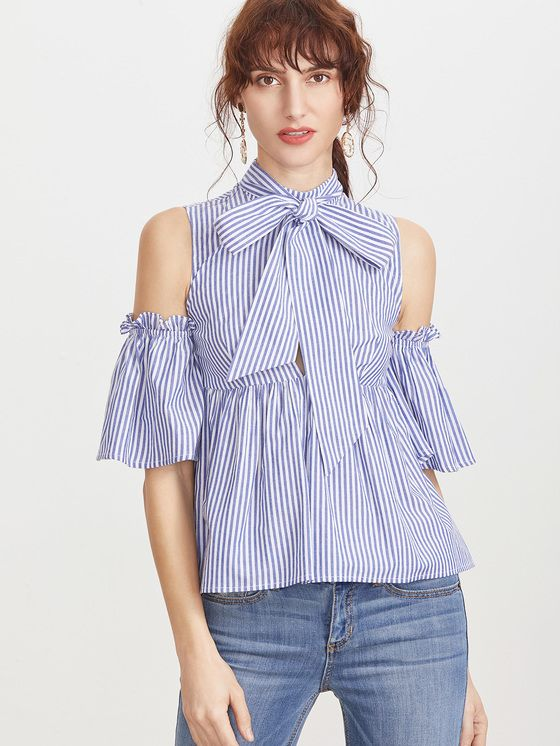 Online shopping for Blue Striped Tie Neck Cold Shoulder Babydoll Blouse from a great selection of women's fashion clothing & more at MakeMeChic.COM.