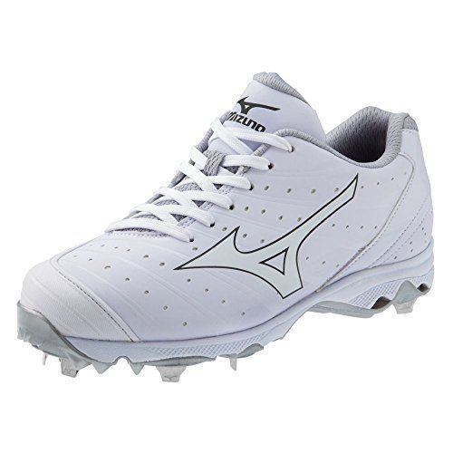 Mizuno Women's 9-Spike Advanced Sweep 2 Fastpitch Softball Metal Cleat -  White and White