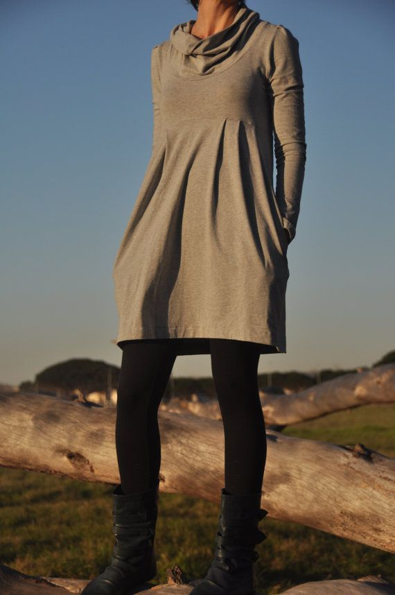 cowl dress with pockets