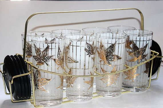 Mid Century Fred Press set of eight glasses with gold leaves