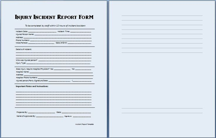 An incident report can be prepared to write details of an incident - injury incident report form template