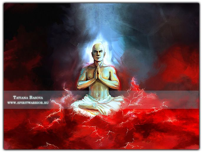 "Buddha Meditates in the Ocean of Blood. Never let your Spirit be stained by the ""blood"" of the world. Stay strong! Do not betray yourself and your soul."