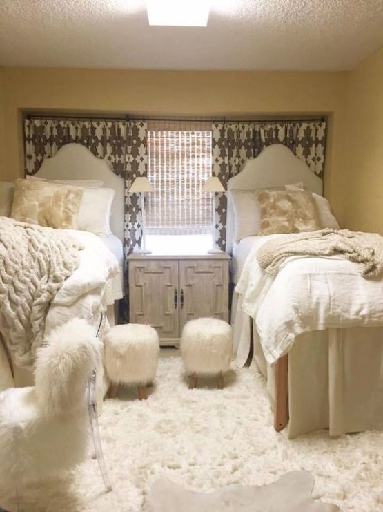 Cream and fur is perfect for coordinating dorm room ideas!