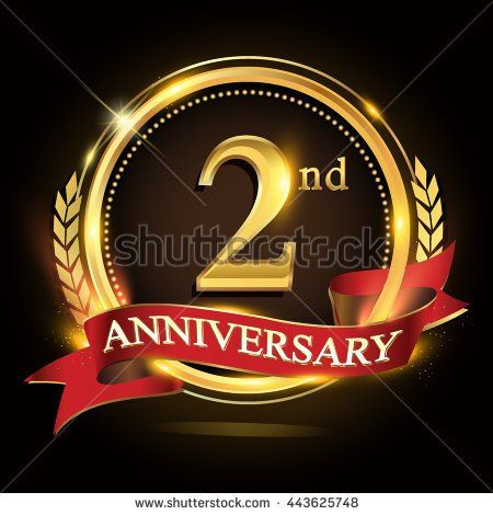 2nd golden anniversary logo, 2 years anniversary celebration with ring and red ribbon, Golden anniversary laurel wreath design - stock vector