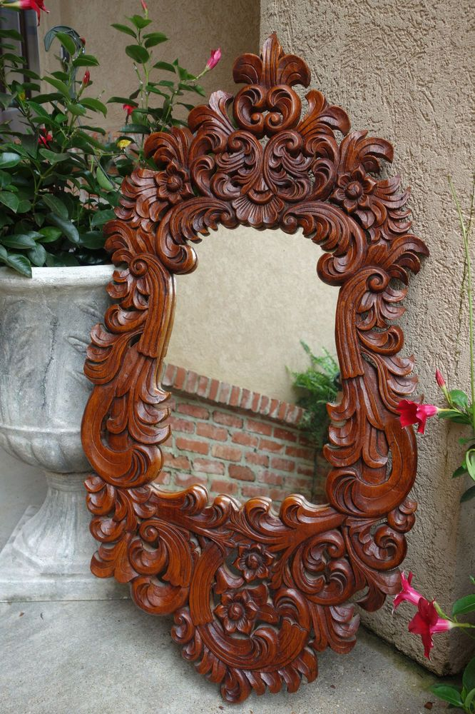 Ornate Antique French Open Carved Wood Frame Wall Mirror