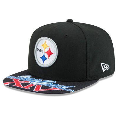 Men's New Era Black Pittsburgh Steelers Super Bowl XIV On The Fifty Jumbo Vize Original Fit 9FIFTY Adjustable Hat