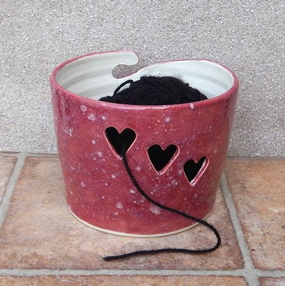 Yarn bowl .....knitting or crochet ...... handmade pottery