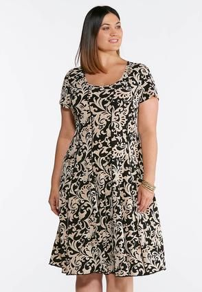 Cato Fashions Plus Size Seamed Neutral Paisley Puff Print Dress
