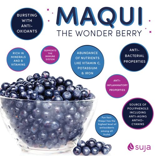 Suja Juice Benefits of Maqui Berry Addicted to this juice suja ! I dont have time for juicing , this is low calorie, organic , fresh and tastes amazing! My skin glows after drinking the GLOW!: