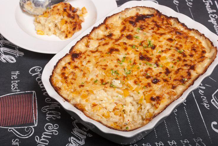 Mac and cheese met flespompoen