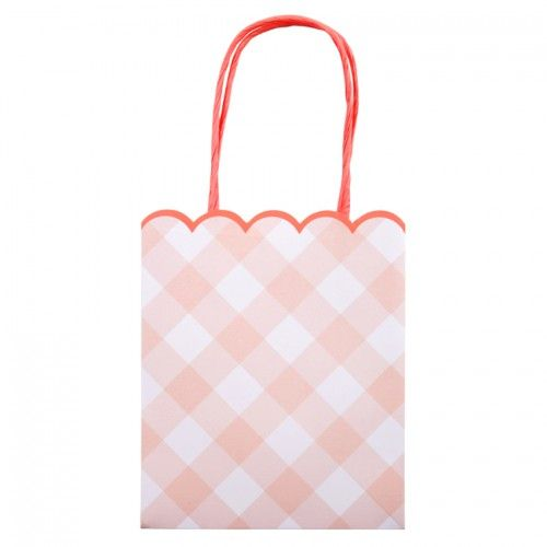 Pink Gingham Party Bag - Meri Meri Partyware Online