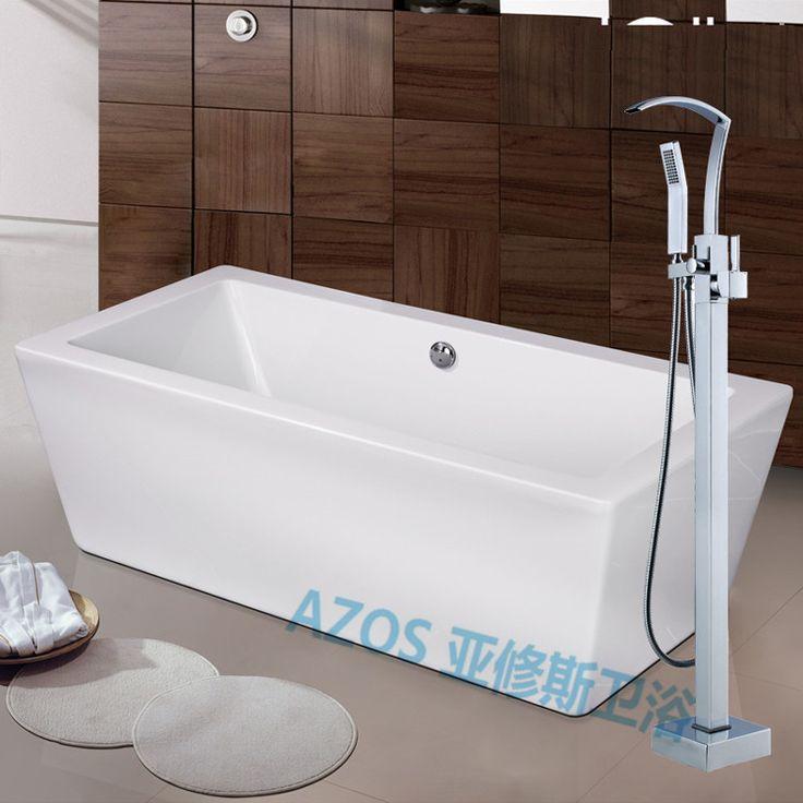 Good Bathtub Faucets Luxury Waterfall Spray Water Mixers Floor Stand Hand Hold  Bathroom Shower Sauna Kit LDTZ013t