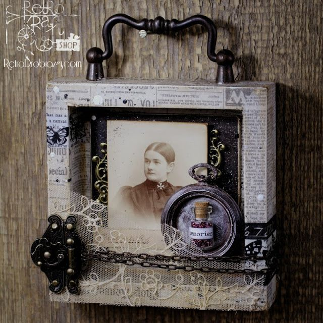 Vintage photo collage; shadow box