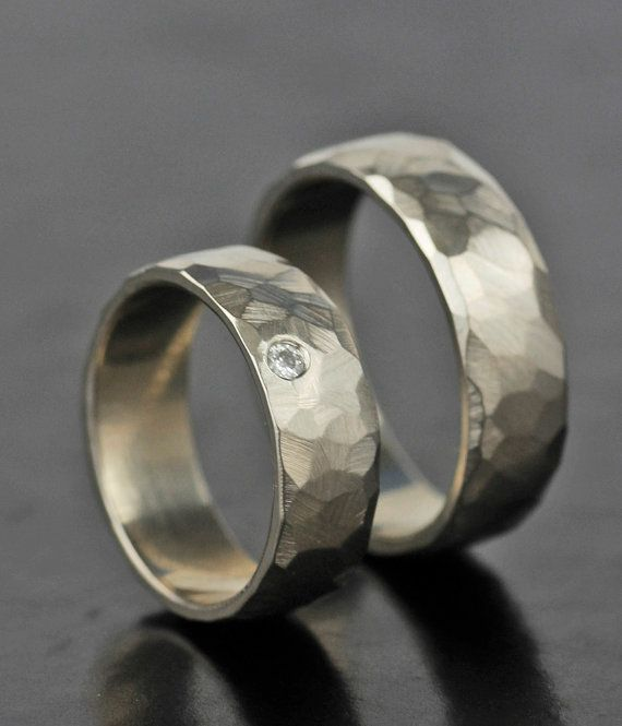 Wedding Band Set Ring Womens Mens Faceted Diamond Gold