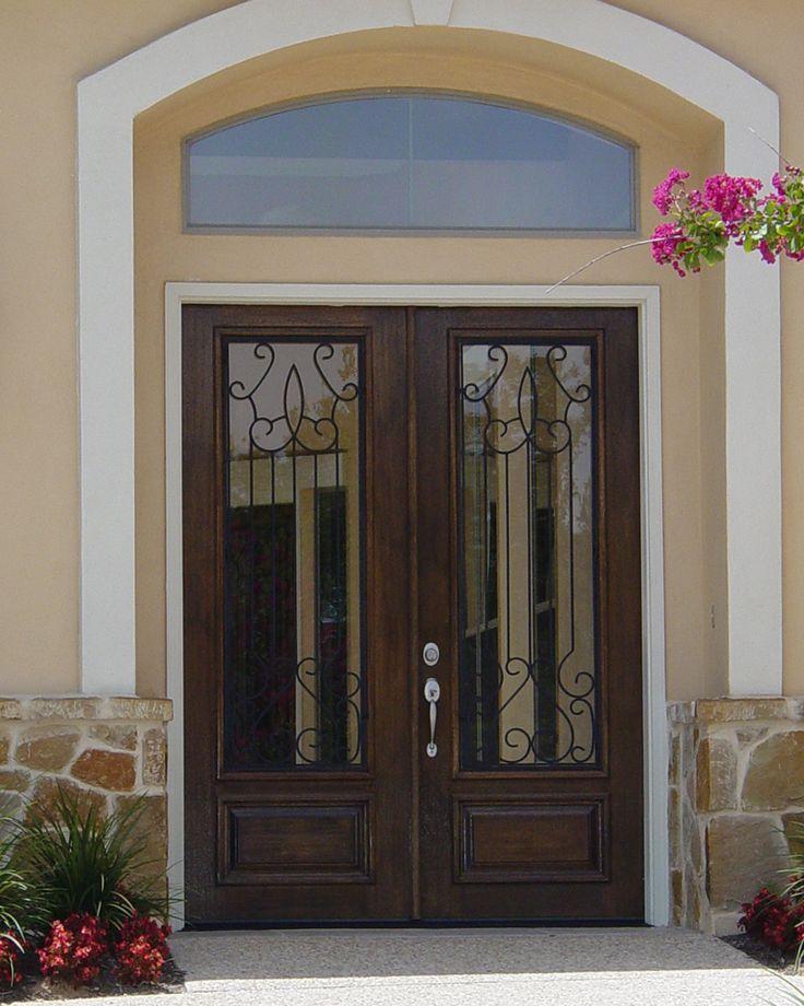 Mahogany Wood And Wrought Iron Door: Monterrey Mahogany 3/4 Lite Double Door