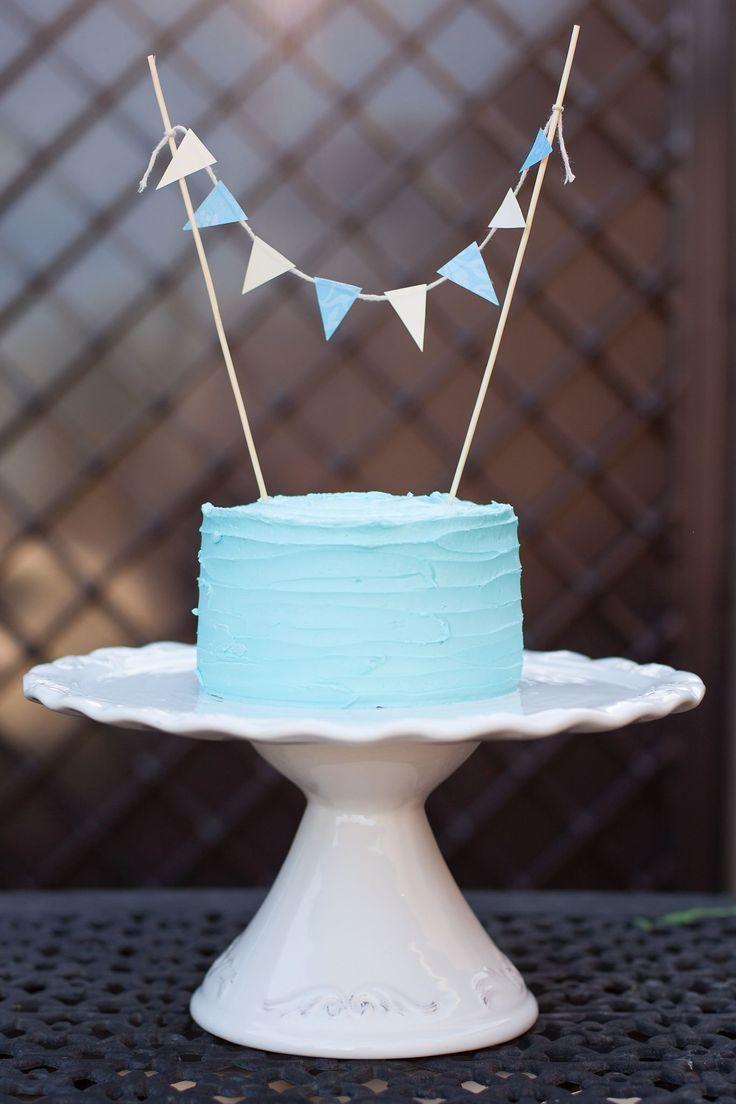 light blue smash cake