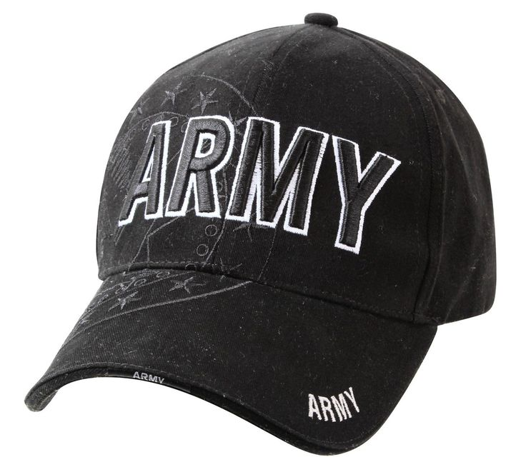 Black United States Army Hat Deluxe Low Profile US Army Shadow Baseball Caps