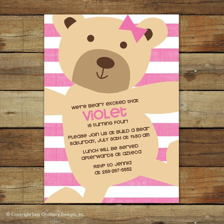 teddy bear birthday invitation, pink stripes, teddy bear birthday party, teddy bear party printable by saralukecreative on Etsy https://www.etsy.com/listing/83547490/teddy-bear-birthday-invitation-pink