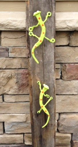 This is a new version of the Salamander. There is a large one and a smaller one and they can be hung on a wall, fence or any where you'd like to put them. Hope you like our new additions.  Lets us know, lookig forward to hearing from you.