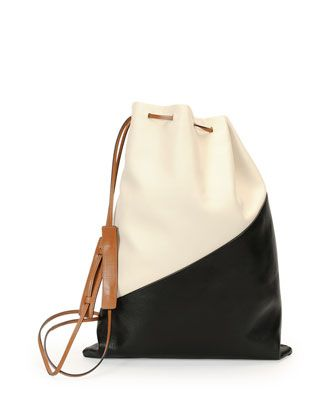 Bicolor Leather Laundry Bag, White/Black by Marni at Neiman Marcus.