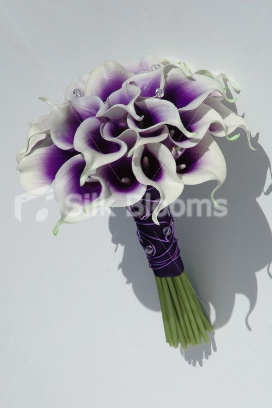 silk bouquets lilys lavender sliver white | ... Wedding Bouquet with Artificial Purple Centred White Picasso Lilies