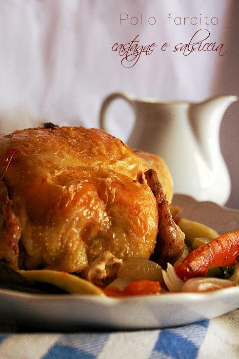 Pollo farcito di castagne e salsiccia con salsa di melagrana #stuffed #chicken #pomegranate #sausage #chestnut #fall