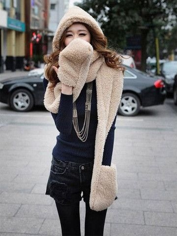 Solid Warm Scarf With Hood – teeteecee - fashion in style
