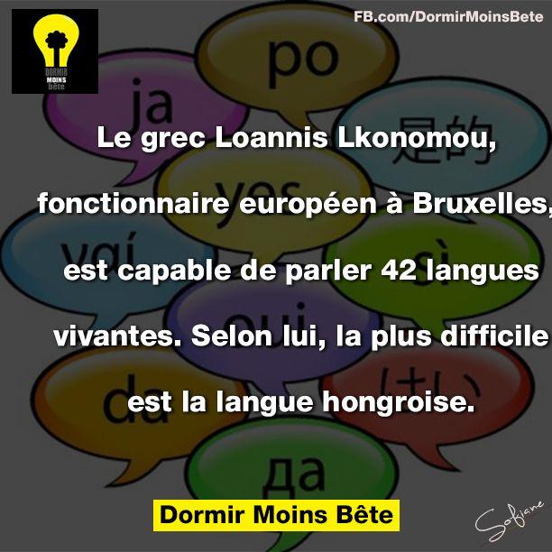 Le grec Loannis Lkonomou, fonctionnaire européen à Bruxelles, est capable de parler 42 langues vivantes. Selon lui la plus difficile est la langue hongroise.