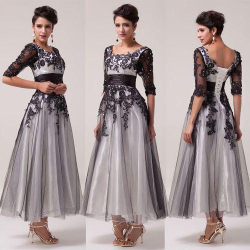 VINTAGE-Lang-Brautjungfer-Abendkleid-Brautkleid-Ballkleid-Kleid-Gr-34-36-38-40