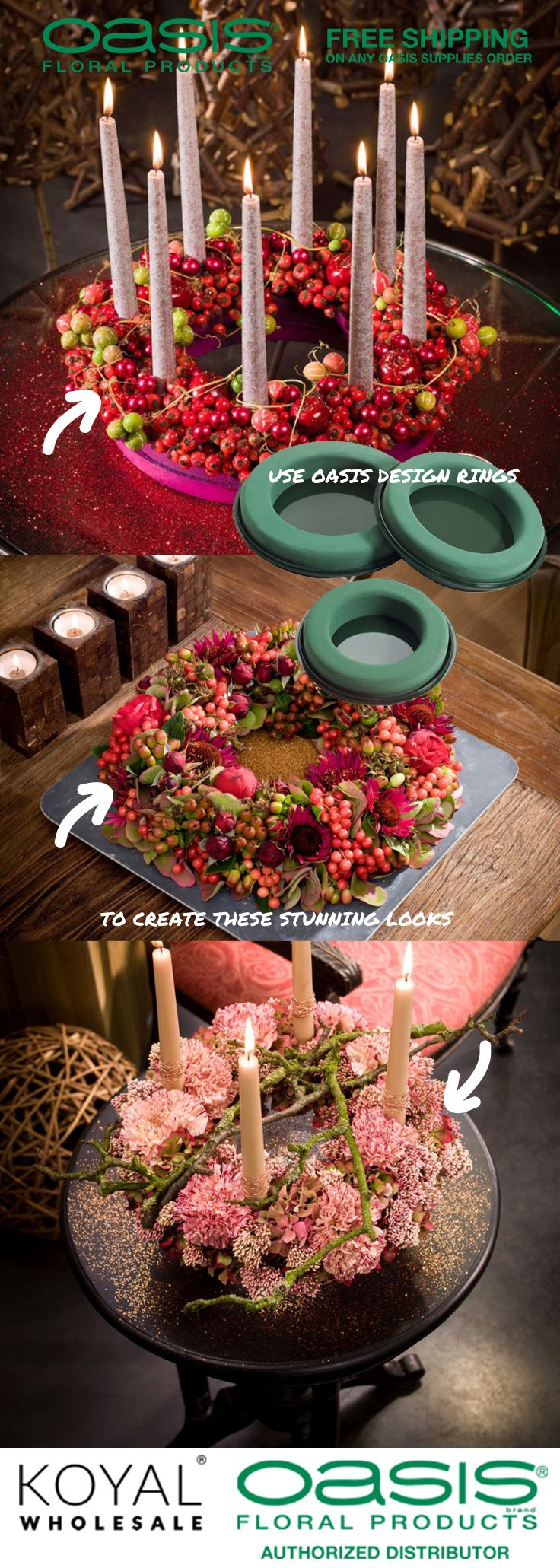 Oasis Design Rings For Thanksgiving Centerpieces, Christmas Holiday  Centerpieces, Or Advent Wreaths Floral
