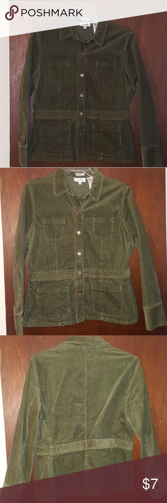 Green Cordoroy Jacket Jones Sport Stretch Cordory Jacket; great with jeans, khakis, really great for early fall! This jacket is not lined, so you may have room for a light sweater under it. It's very versatile and in  great condition! Jones Sport Jackets & Coats
